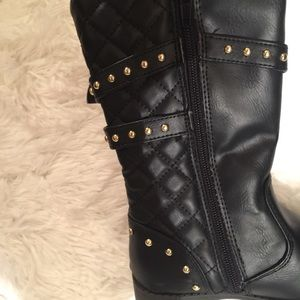 Piper Shoes - Piper Big Girls 11M Studded, Quilted knee boots
